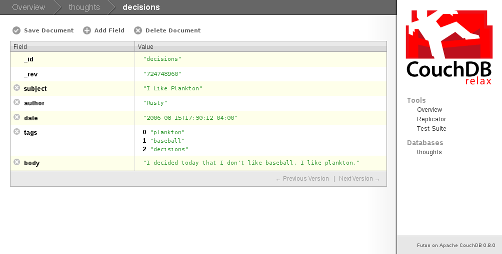 Screenshot Of Couchdb Futon